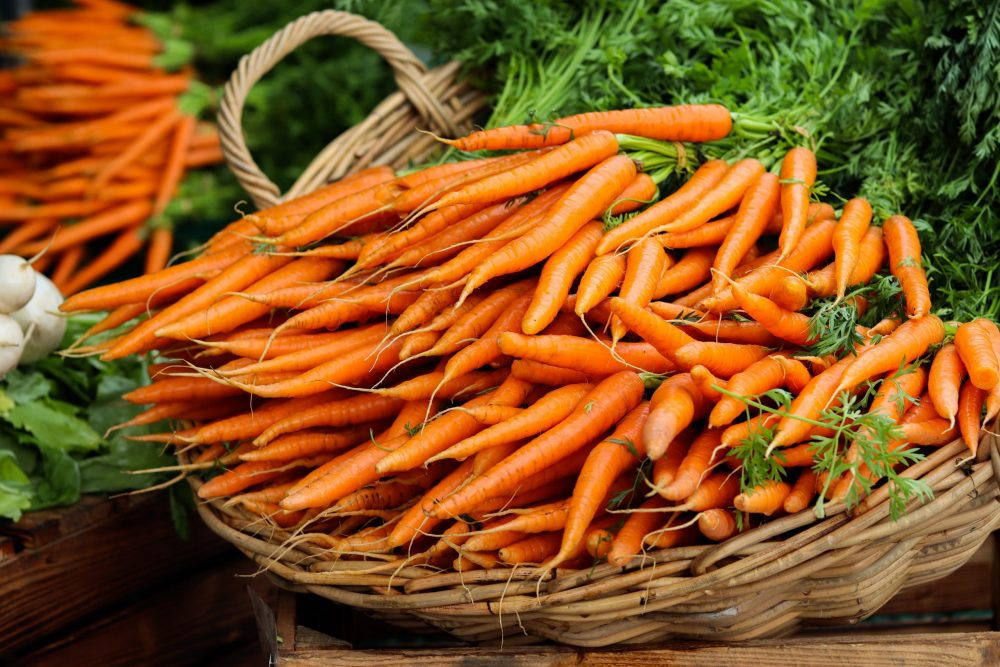 Picture of carrots in a basket
